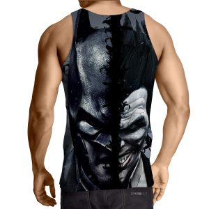 Batman And The Villain In One Face Full Print Gray Tank Top - Superheroes Gears