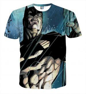 Batman Caught Up Fighting Under The Rain Full Print T-Shirt - Superheroes Gears
