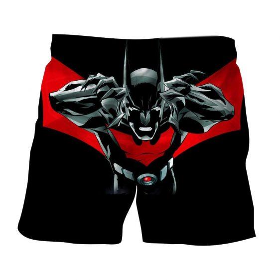 Batman Character On Red Label Black Cool Print Shorts - Superheroes Gears