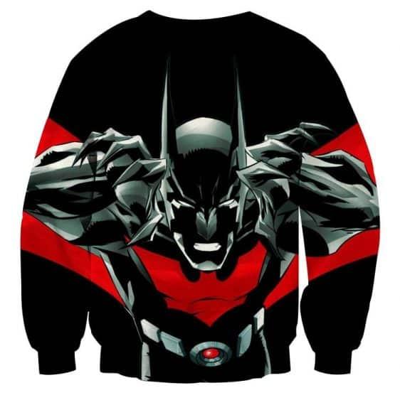 Batman Character On Red Label Black Cool Print Sweatshirt - Superheroes Gears