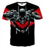 Batman Character On Red Label Black Cool Print T-Shirt - Superheroes Gears