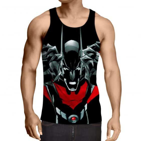 Batman Character On Red Label Black Cool Print Tank Top - Superheroes Gears