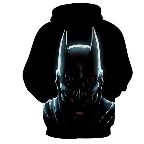 Batman Hero Head Shot On The Dark Full Print Black Hoodie - Superheroes Gears