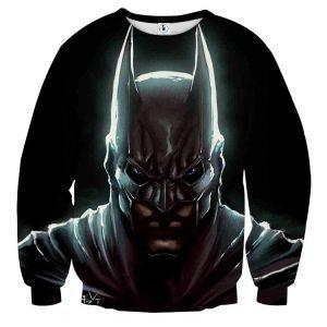 Batman Hero Head Shot On The Dark Full Print Black Sweatshirt - Superheroes Gears