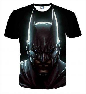 Batman Hero Head Shot On The Dark Full Print Black T-Shirt - Superheroes Gears