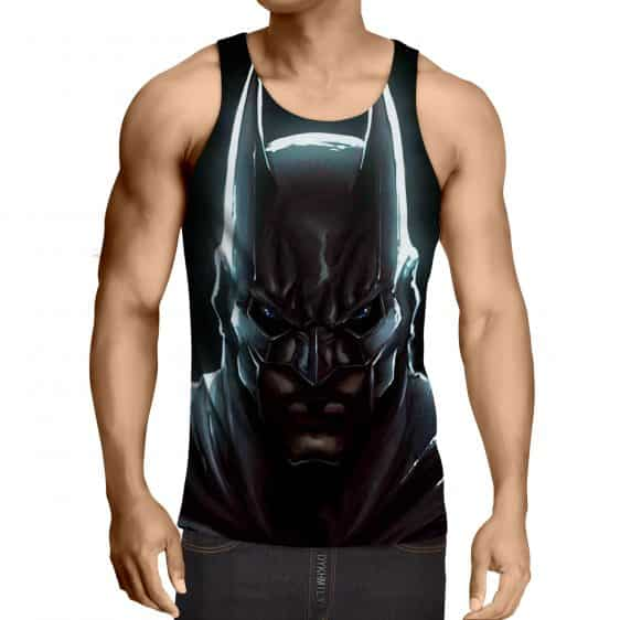 Batman Hero Head Shot On The Dark Full Print Black Tank Top - Superheroes Gears