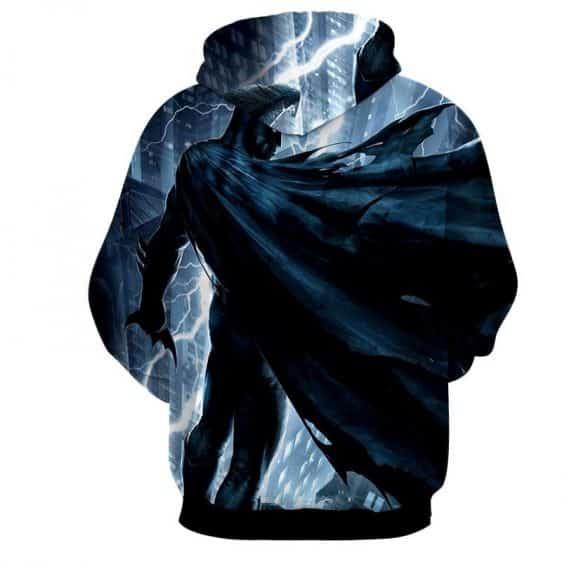 Batman Standing Under The Thunderlight Full Print Hoodie - Superheroes Gears