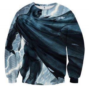 Batman Standing Under The Thunderlight Full Print Sweatshirt - Superheroes Gears