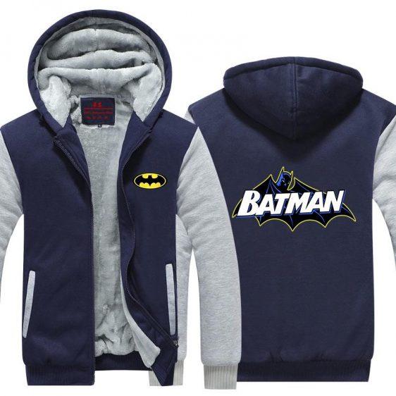 Batman Symbol Yellow Line White Letters Cool Hooded Jacket - Superheroes Gears