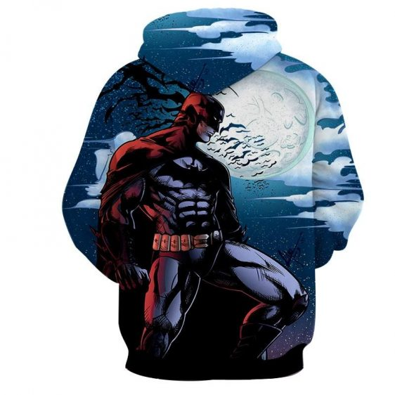 Batman Under The Moon With Bats And Night Blue Sea Hoodie - Superheroes Gears