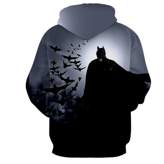 Batman With The Bats Silhouette On The Moon Full Print Hoodie - Superheroes Gears