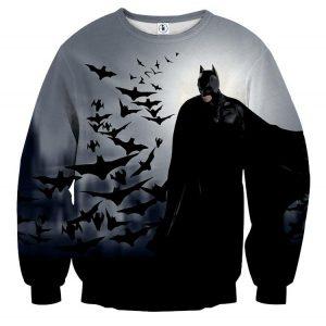 Batman With The Bats Silhouette On The Moon Full Print Sweatshirt - Superheroes Gears