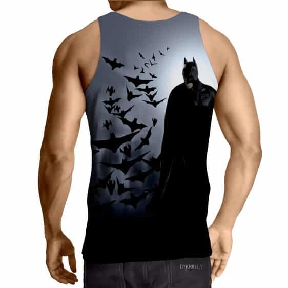 Batman With The Bats Silhouette On The Moon Full Print Tank Top - Superheroes Gears