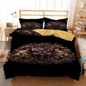 Black Panther Ancient Gold Lining Symbol Black Bedding Set