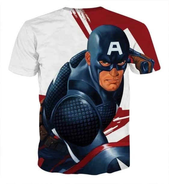 Captain America 3D Realistic Print On White T-shirt