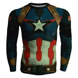 Captain America Civil War Long Sleeves Design Gym T-shirt - Superheroes Gears