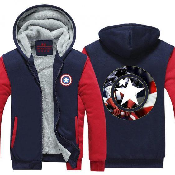Captain America Hero Shield Symbol 3D Print Hooded Jacket - Superheroes Gears