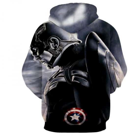 Captain America Side Pose With His Shield Cool Gray Hoodie