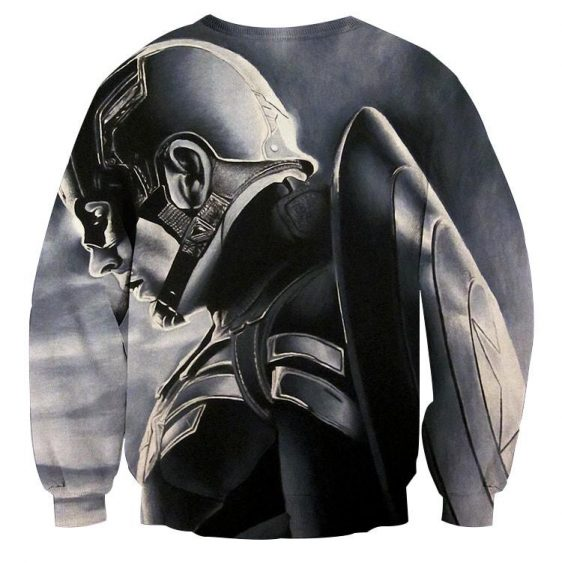 Captain America Side Pose With His Shield Cool Gray Sweatshirt