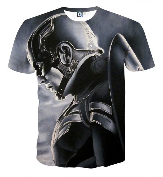 Captain America Side Pose With His Shield Cool Gray T-shirt