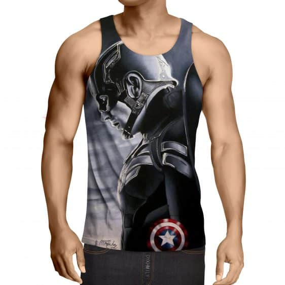 Captain America Side Pose With His Shield Cool Gray Tank Top