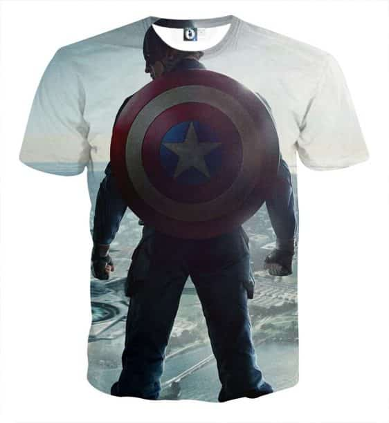 Captain America Standing With His Shield White T-shirt