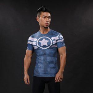 Captain America Superhero Inspired Compression Short Sleeves Gym T-shirt - Superheroes Gears