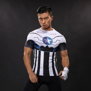 Captain America Unique Design Inspired Compression Short Sleeves Training T-shirt - Superheroes Gears