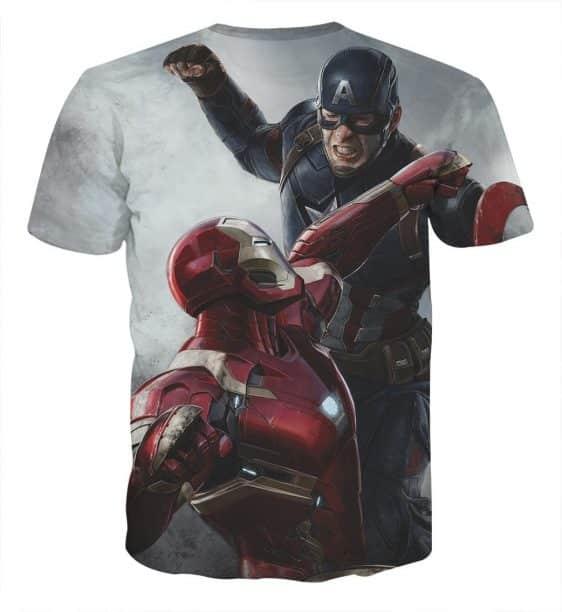 Captain America Vs Ironman on White Full Print T-shirt