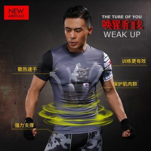 Captain America Winter Soldier Cat Printed Compression Men Workout T-shirt - Superheroes Gears