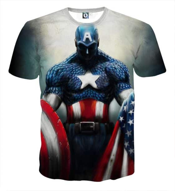Captain America With Shield And Flag Paint Art Design T-shirt