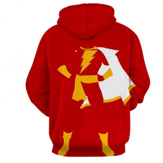 Captain Marvel Shazam Superhero Simple Minimalist Red Hoodie