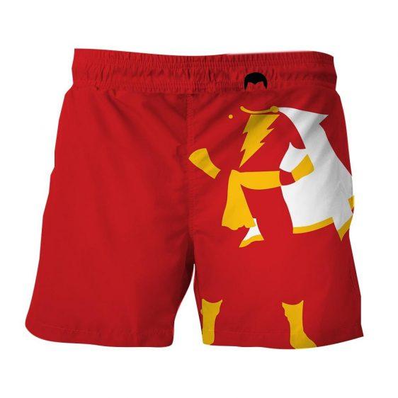 Captain Marvel Shazam Superhero Simple Minimalist Red Short