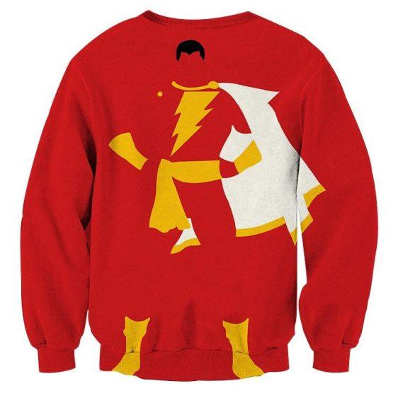 Captain Marvel Shazam Superhero Simple Minimalist Red Sweatshirt