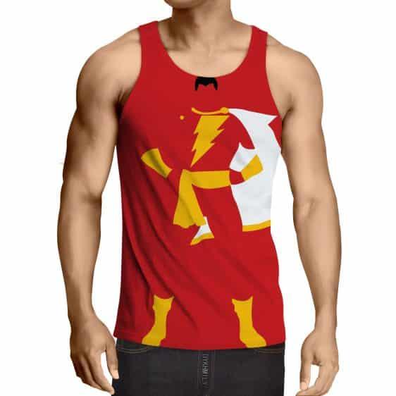Captain Marvel Shazam Superhero Simple Minimalist Red Tank Top