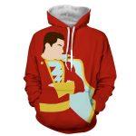Captain Marvel Superhero Shazam  Stand Pose Trendy Red Hoodie