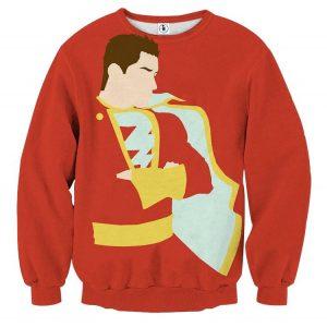 Captain Marvel Superhero Shazam  Stand Pose Trendy Red Sweatshirt