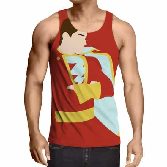 Captain Marvel Superhero Shazam  Stand Pose Trendy Red Tank Top