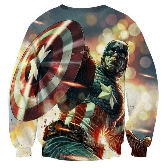Cartoonized Captain America On Glowing Background Sweatshirt