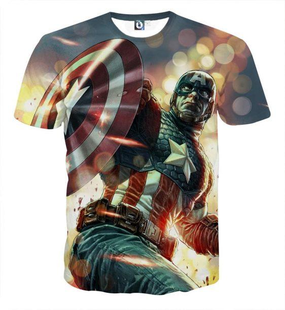 Cartoonized Captain America On Glowing Background T-shirt