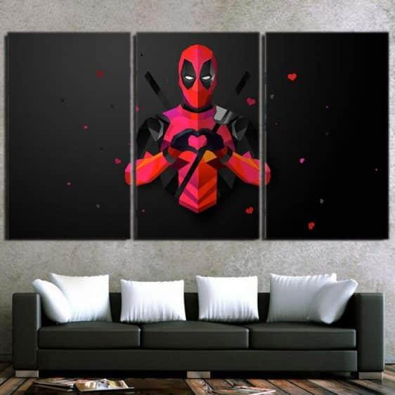 Comic Deadpool In Heart Love Sign 3pcs Wall Art Canvas Print