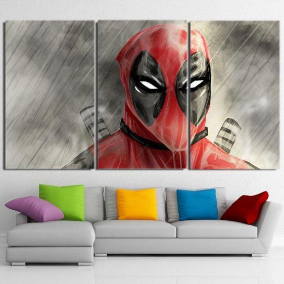 Comic Wet Deadpool In The Rain 3pcs Wall Art Canvas Print