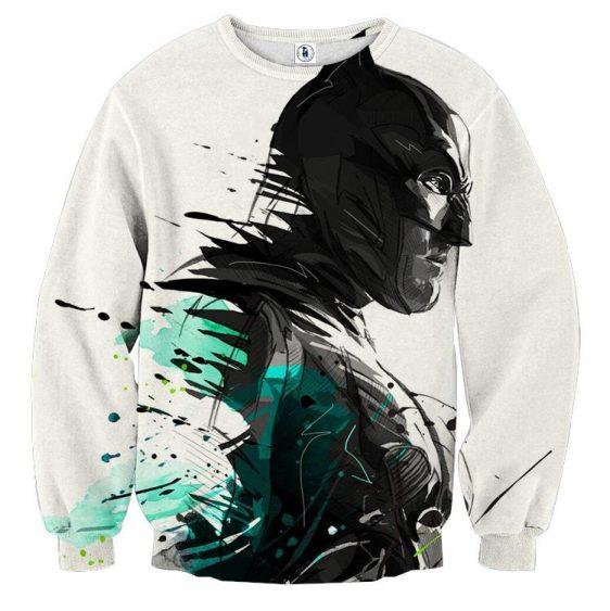 Cool Paint Art Design Batman Print On White Sweatshirt - Superheroes Gears