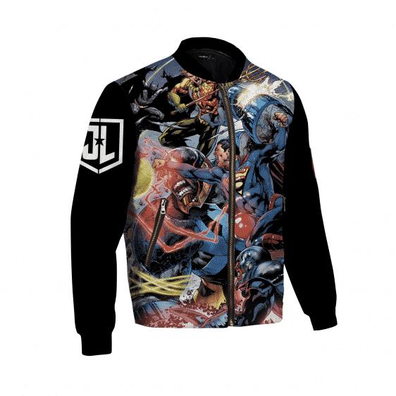 Justice League Team Bomber Jacket Black Logo Sleeves