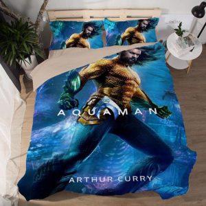 DC Arthur Curry Aquaman Movie Golden Suit Bedding Set