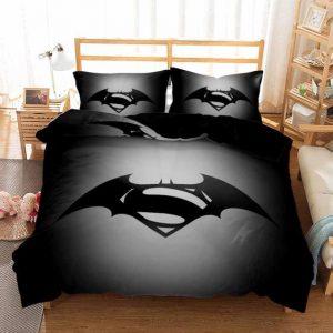 DC Combined Batman And Superman Logo Black Bedding Set