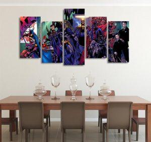 DC Batman The Battle For The Cowl 5pcs Wall Art Canvas Print