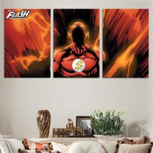 DC Comics Flash The Fastest Man Red Suit 3pcs Canvas Print