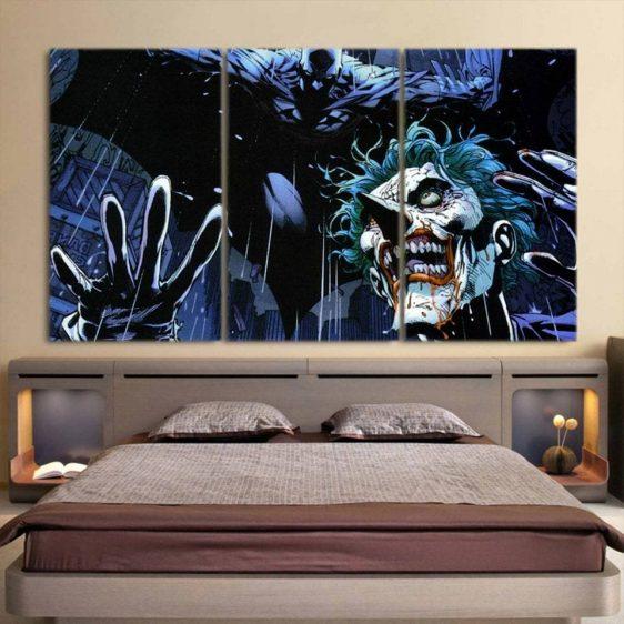 DC Comic Joker Afraid With Batman Design 3pcs Canvas Print
