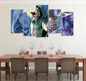 DC Comics Oliver Queen The Green Arrow 5pcs Wall Art Canvas